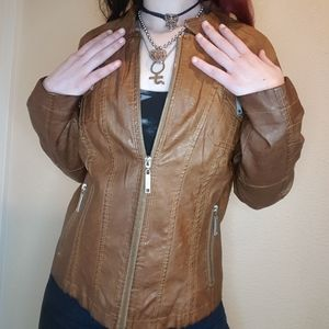 Jou Jou tan faux leather jacket
